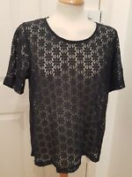 ladies NEXT navy lace top size 16 sheer