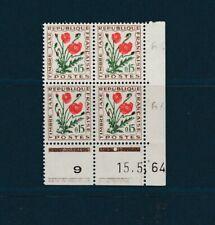 timbre France bloc de  4  coin daté  taxe fleur 15c   num: T 97  **