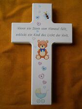 Kinderkreuz weiß Taufkreuz Geburt Taufe mit Schmucksteinchen-Kristall Perlen