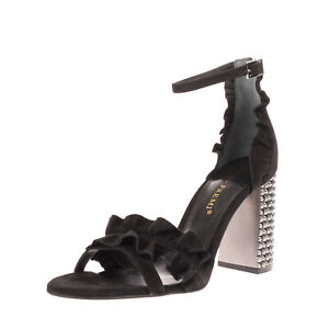 RRP €105 BRUNO PREMI Leather Ankle Strap Sandals Size 40 UK 7 US 10 Ruffle Heel
