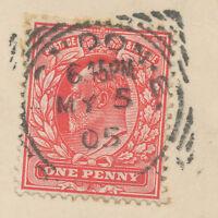 GB 1905, EVII 1 D rosered VF pc CENTURY-DAY  to WARMENSTEINACH, Bavaria