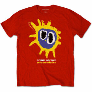 Primal Scream T Shirt Screamadelica Officially Licensed Mens Red Tee Rock Merch