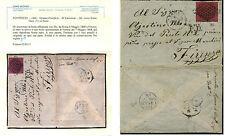 1868-6 MAG. BUSTA C.20 SASSONE 27.  AL VERSO RARISSIMO BOLLO R2 valore €.20.000+