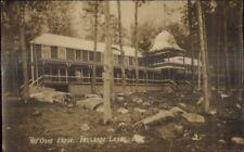 Belgrade Lakes ME Red Oaks Lodge c1920s Real Photo Postcard