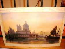 Nice antique watercolor painting Venice ? scene gondola  and fishing boats