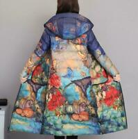 Retro Womens Winter Long Floral Down Parka Trench Coat Hooded Warm  Jacket Sz