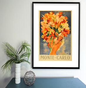 "Vintage print poster for glass frame 36"" x 24"" art Monte Carlo Model Flowers"