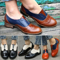 Women Lady Slip On Flatform Brogue Loafers Oxford Casual Dress Shoes Size 6-10.5