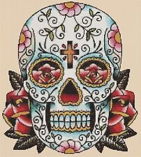 Cross Stitch Chart - sugar skull roses - day of the dead no. 9 - No. 364 .TSG37