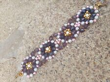 "Bracelet handmade beaded 7"" pink/gold/blue/grey beads"
