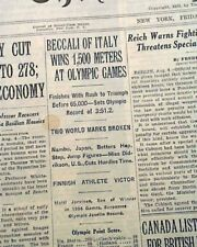 LUIGI BECALLI 1st Italian to Win Olympics GOLD Medal in Running 1932 Newspaper