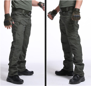 Men's Windproof Cargo Pants Tactical Trousers Combat Outdoor Hiking Pocket Pant