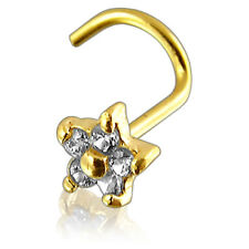 20G 9K Solid Yellow Gold CZ Stone Flower Nose Screw