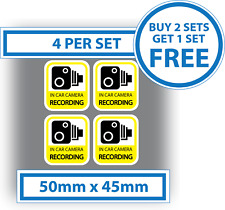 4 X in Car Camera Recording Stickers Dash Cam Video Warning Vinyl Decals 50x45mm