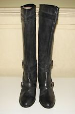 NIB J Crew sz 8 Miller black distressed leather mid-heel knee high boots