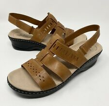 Clarks Lexi Qwin Cut-Out Leather Sandals Womens Size10 Brown Cognac NEW
