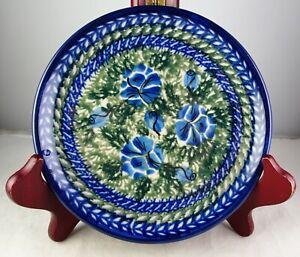 Unikat Polish Art Pottery #9 Bread Or Side Plate Blue & Green Floral Pattern