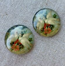 Pack of 4 Glass Round 25x7mm Cabochon with Doves Domed Cabochons