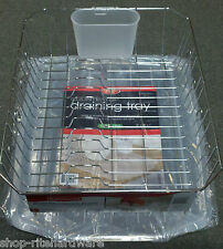 RUBBERMAID DISH DRAINER RACK SET W/ SLOPED KENNEDY'S TRAY FRONT END DRAIN CLEAR
