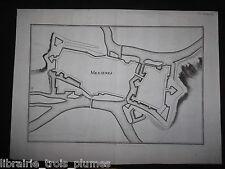 ✒ MEZIERES XVII° vue des fortifications ca1650 1670 avant Vauban