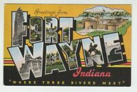 [73751] OLD LARGE LETTER POSTCARD GREETINGS from FORT WAYNE, INDIANA