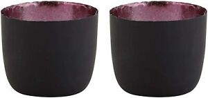 Matte Grey and Purple Colored Votive Candle Holders for Dining Room, Pack of 2