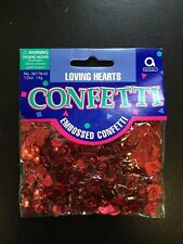 CONFETTI Party Glitz LOVING HEARTS Table Red Metallic Embossed Confetti