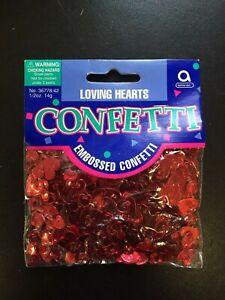 CONFETTI Party Glitz LOVING HEARTS Table Red Metallic Embossed Confetti