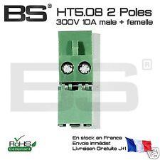 Lot 2x prise industrielle HT 5,08 2P male + female socket HT508 10A 300V