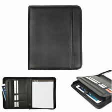 Black Leather Padfolio Zippered Notepad Planner Zipper Organizer  Pocket Holder