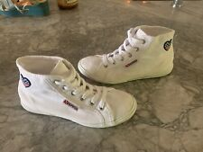 New listing Superga White Canvas Lace Up Hi-Top Trainers American Flag Heart Women's 5.5