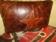 WESTERN FUR LEATHER BROWN STAR COW HIDE (1PC) OBLONG THROW PILLOW WESTERN 14 X 9