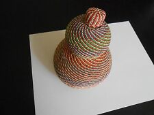 """VINTAGE AFRICAN MULTI COLORED WIRE COVERED GOURD WITH CAP--9"""" X 4"""""""