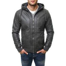 Cappotti e giacche da uomo grigio in pelle con cerniera