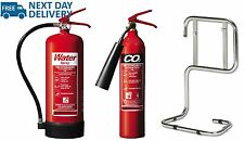 Fire extinguisher set (2kg CO2 + 6ltr Water, Stand Home Office Work BS Kitemark