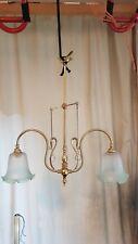 Stunning Vintage Art Nouveau Brass Gas Converted? Lamp Chandelier Ceiling Light