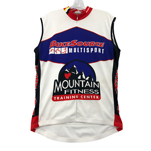 Louis Garneau Men's Cycling Jersey Sleeveless Tank Large Polyester 1/2 Zip
