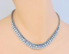 Vintage Blue Rhinestone Choker Necklace 1624a
