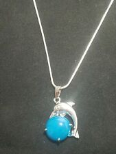 Blue Onyx Agate Dolphin Necklace Gemstone Pendant on Sterling Silver Chain