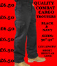 "NEW! MENS CARGO COMBAT WORK COLLEGE LEISURE TROUSERS BLACK & NAVY 28""- 52"" WAIST"