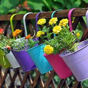 10Pcs Hanging Planter Plant Pots Trough Garden Fence Balcony Railing Flower Pot