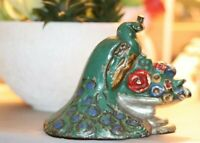 Antique colorful CAST IRON PEACOCK DOOR STOP vintage bird green blue red urn
