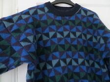 """Vtg Kaffe Fassett Chatterbox geometric triangle blue green wool jumper 42"""""""