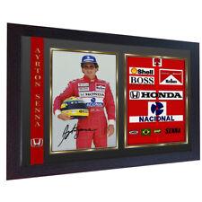 AYRTON Senna SIGNED AUTOGRAFO foto stampa McLaren-HONDA F1 CHAMPION incorniciato