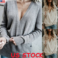 US Women Wrap V Neck Long Sleeve Shirt Ladies Knitted Sweater Jumper Tops Blouse