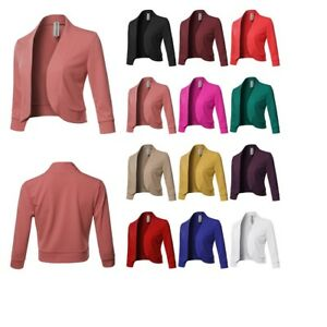 FashionOutfit Women's Solid 3/4 Sleeves Open Front Bolero Blazer - Made In USA