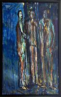 Gerhard Elsner 1930–2017: Dreiergespräch 3 Figuren Ölgemälde 77 x 47 cm Blau
