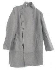 CL3#Religion Mens Charcoal Asymetric Button Cropped Overcoat Uk Size L