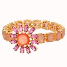 Pink Stone Rhinestone Flower Gold Tone Prom Wedding Jewelry Stretch Bracelet