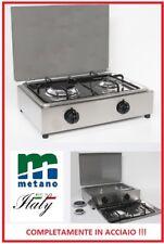 FORNELLO A GAS METANO 2 FUOCHI COMPLETAMENTE ACCIAIO INOX MADE IN ITALY - PARKER